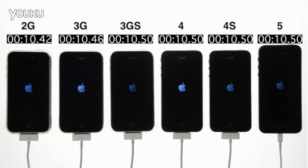 iPhone 2G vs. 3G vs. 3GS vs. 4 vs. 4S vs. 5开机速度对比