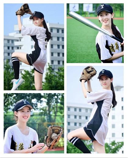 奶茶妹妹打棒球露美腿 魅力代言清华队