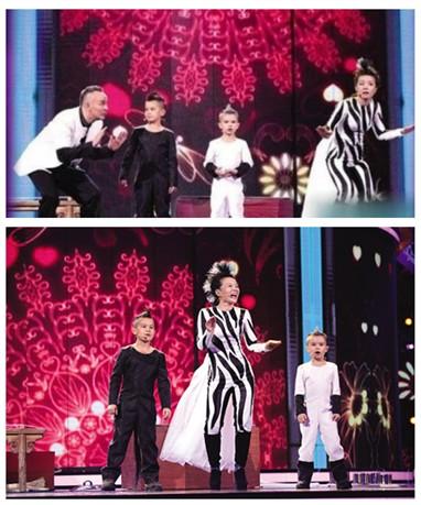 龚琳娜一家四口登台 演绎马年新神曲