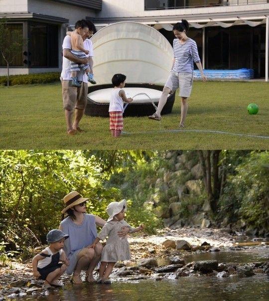 李英爱豪宅曝光 与双胞胎子女草坪戏水打闹