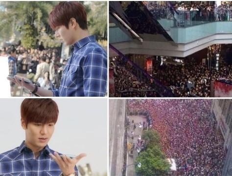 李敏镐东莞拍广告 五千粉丝围观挤爆商场