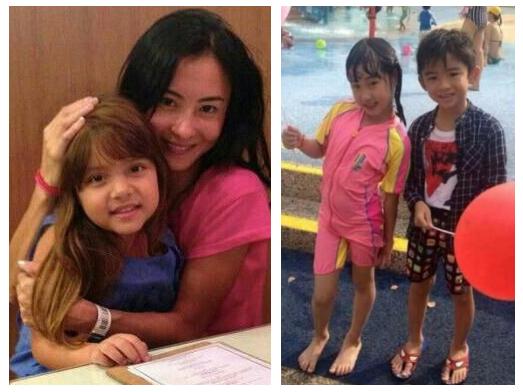 张柏芝素颜抱萝莉 Lucas与小女孩合影显羞涩