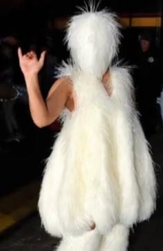 Lady Gaga穿雷人毛绒